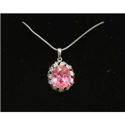 """Pink Sapphire .925 Sterling Silver Pendant & 18"""" chain Necklace New with Box"""