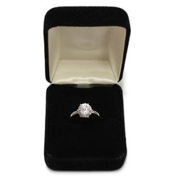 Brilliant Sterling Silver Solitaire Gemstone Engagement Ring Size: 6 New