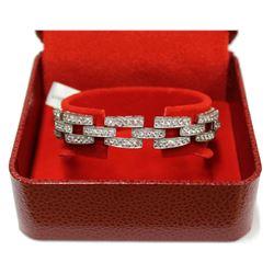 Elizabeth Taylor Gala style Silver & Gems Cluster link Bracelet Fine Jewelry New with Luxury Box