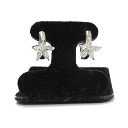 New Sterling Silver Star Flower Hoop Earrings with Marquise cut crystals & Jeweler Gift Box