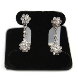 Ladies Sterling Silver Flower Dangling Gemstone Earrings stamped 925 New