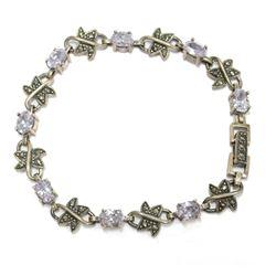 "Amethyst Butterfly .925 Sterling Silver 8"" Vintage Style Bracelet New Never Worn."