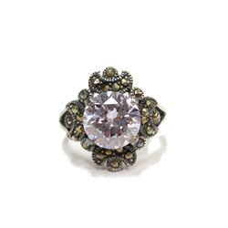 Ladies Amethyst .925 Sterling Antiqued Silver Ring Vintage Style New Size: 8