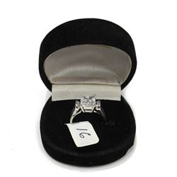 Beautiful High End Sterling Silver Princess Cut Gem Cluster Engagement Ring Size: 7  New with box