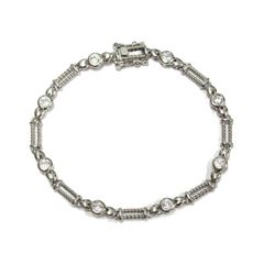 """New Casual Dress Bracelet .925 Sterling Silver adorned with gemstones 7"""" wrist size"""