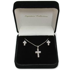 Beautiful High End Sterling Silver Cross Pendant Necklace & Stud Earrings Set New with box