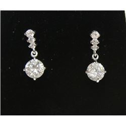 Brilliant Dangling Gem Sterling Silver Earrings stamped 925 New Butterfly Backings