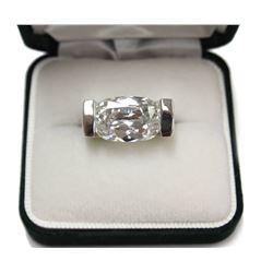 Elizabeth Taylor Gala style Large Gemstone Silver Ring Size: 6.5 New with Box