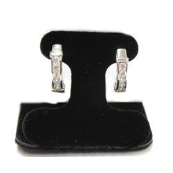 Brilliant Dangling Half Hoop Gemstone Sterling Silver Earrings stamped 925 New Butterfly Backings
