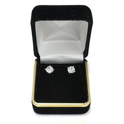 Sterling Silver Fancy Round Brilliant Cut Gemstone Stud Earrings New with Gift Box