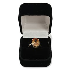 Brilliant Sterling Silver Solitaire Citrine Ring Size: 8 New with Box