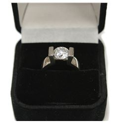 Brilliant Sterling Silver Solitaire Gemstone Engagement Ring Size: 4.5 New with Box