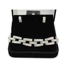 Elizabeth Taylor Gala style Silver Cluster link Bracelet & Earrings Set Fine Jewelry New with Luxury
