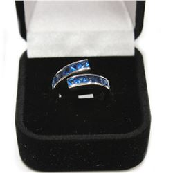 Fancy Brilliant Blue Stone Sterling Silver Ring Size: 5 New with Box