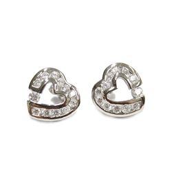 Sterling Silver Heart Stud Bezel Set Gemstone Earrings New with Gift Box