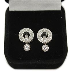 Sterling Silver Dangling Circle Stud Pave Set Gemstone Earrings New with Gift Box