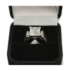 Fancy Brilliant Sterling Silver Engagement Ring Size: 6 New with Box