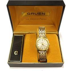 Mens Vintage Gruen Precision 10K Gold plate Watch Swiss Movement Original Box