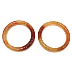 2x Beautiful Single Piece Red Jadeite Bangle Bracelets Set