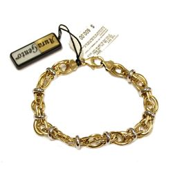 14K Yellow Gold & Sterling Silver Double Oval Link Bracelet New with Tags Fine Jewelry