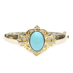 Burmese Style Turquoise Silver Bangle Bracelet with Swing Clasp Fine Jewelry