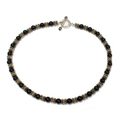 Victorian Style Garnet Bead 14K Gold & Silver Necklace with Toggle Clasp Fine Jewelry