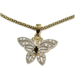 Vintage Styled Blue Sapphire Silver Butterfly Pendant & Rope Chain Necklace