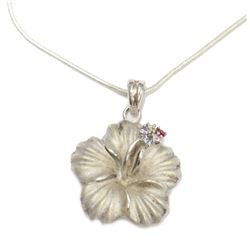 """Hawaiian Hibiscus Flower Pendant .925 Sterling Silver 28"""" chain Necklace New Fine Jewelry"""