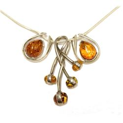 """High Quality Precious Amber Silver Autumn Pendant Necklace 28"""" Chain length Fine Jewelry"""