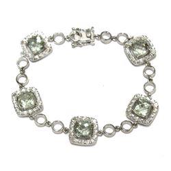"Cushion Cut Peridot Sterling Silver Gala Link Bracelet 6.5"" Wrist Size"