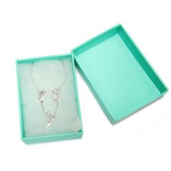 Matching Heart Ribbon Pendant Necklace & Earrings Set Sterling Silver