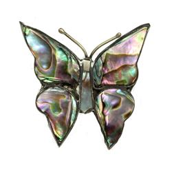 Radiant Mother of Pearl Silver Butterfly Brooch Pin