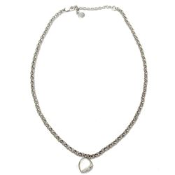 """Designer Jewelry Elle 925 Sterling Rhodium Plated Genuine White Mother of Pearl Necklace 18"""" with 2"""""""