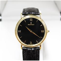Elegant Movado Black Dial Watch Swiss Movement with original Movado Display Box