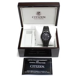 Citizen Eco-Drive Black Titanium Day Date Watch Light Powered Japanese Movement with Luxury Wooden B
