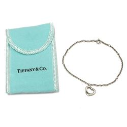 "Elsa Peretti Tiffany & Co. Silver Open Heart Charm Bracelet 7"" Wrist Size with Pouch & Box"