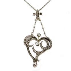 """Elegant Vintage c:1800's Gold Silver & Diamond Fleur de Lis Heart Motif Pendant Necklace 16"""" chain"""