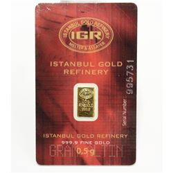 .9999 Fine Pure Gold Bar Sealed Serial Numbered Istanbul Gold Refinery 0.5grams