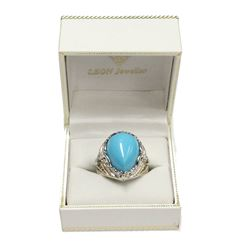 Exotic Burma Style Turquoise Silver Ring with Gold Details Size 8 Fine Jewelry