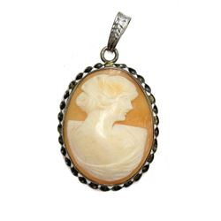 Antique Victorian Era Vintage Cameo of a Lady Silver Pendant Master Carved Seashell