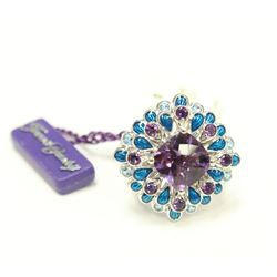 Purple & Blue Stone Mosaic Sterling Silver Ring Size 7 New with Tags