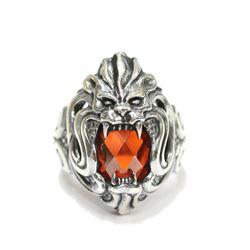 Heavy Mens Sterling Silver Fierce Lion Redstone Ring Size 9.5