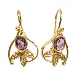 New 14K Yellow Gold Diamond Amethyst Earrings Fine Jewelry