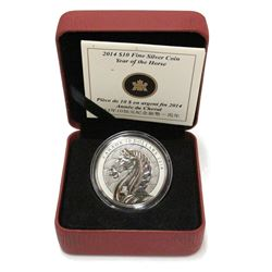 2014 $10 .9999 Fine Silver Year of the Horse Coin with box sleeve COA