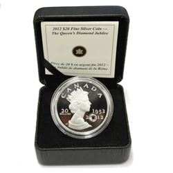 2012 $20 .9999 1oz Silver Queens Diamond Jubilee Coin with Swarovski Crystal