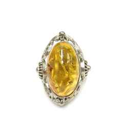 Intricate Lively Amber Sterling Silver Ring Size 5.5 Fine Jewelry