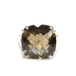 10K White Gold Smoky Quartz Engagement Ring Size 7.5 New with Tag $600