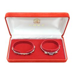 New Matching Ladies Mosaic Gemstone 925 Sterling Silver Dual Bracelet Set Fine Jewelry with Box