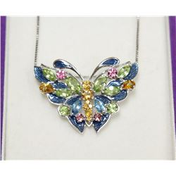 """Sterling Silver Mosaic Butterfly Pendant & 16"""" Box Chain Necklace New Fine Jewelry with Box"""