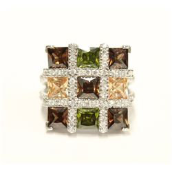Beautiful Ladies Mosaic Multi-colour Cluster Gemstone Ring Size 7 Fine Jewelry